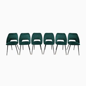 Mid-Century Green Velvet Barrel Chairs, Set of 6