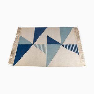 Mid-Century Antonín Kybal Style Geometric Wool Kilim Carpet