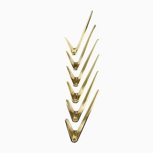 Austrian Brass Coat Hooks, 1950s, Set of 6
