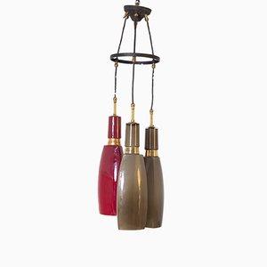 Italienische Mid-Century Deckenlampe aus rotem Opalglas & Messing von Vistosi