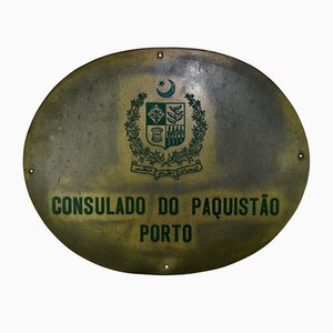 Cartel Pakistan Consulate in Oporto Sign, 1980s