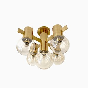Mid-Century Brass & Glass Ceiling Lamp by Hans-Agne Jakobsson for Hans-Agne Jakobsson AB Markaryd
