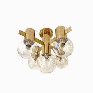 Mid-Century Brass & Glass Ceiling Lamp by Hans-Agne Jakobsson for Hans-Agne Jakobsson AB Markaryd