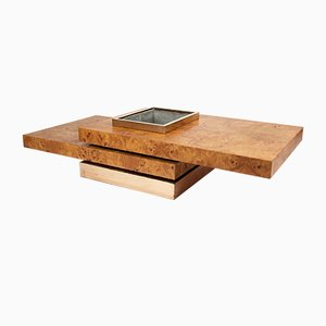 French Art Deco Geometric Burl Wood Coffee Table by Jean Claude Mahey, 1970s