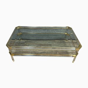 Mid-Century Glass and Brass Coffee Table