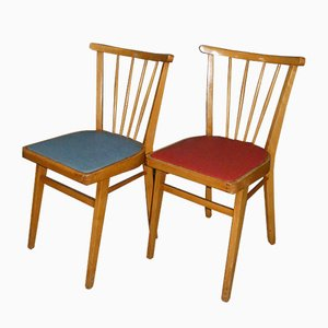 Mid-Century Dining Chairs in Red & Blue, 1950s, Set of 2