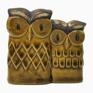 Swedish Ceramic Owls by Willi Fischer for EGO Stengods, 1960s