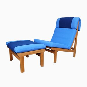 Danish Rag Lounge Chair & Ottoman by Bernt Petersen for Schiang, 1960s, Set of 2