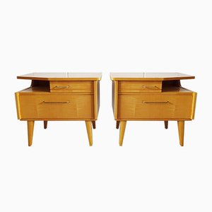 Mid-Century Light Veneer Nightstands, Set of 2