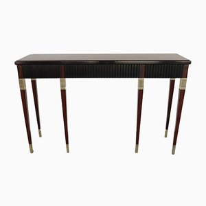 Vintage Brass and Rosewood Console Table