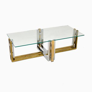 Vintage Brass, Chrome & Glass Coffee Table, 1970s