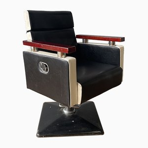 Vintage Industrial Barber's Salon Chair With Black Base