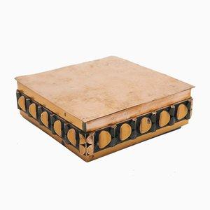 Handgefertigter Kupfer Schmuck- oder Kartenkasten mit Holzinnenausstattung, 1970er