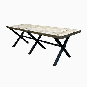 Vintage Dining Table with Steel Base