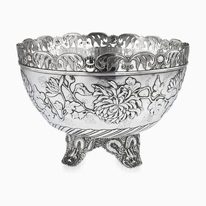 Antique Hong Kong Chinese Solid Silver Bowl from Wing Cheong, 1890s