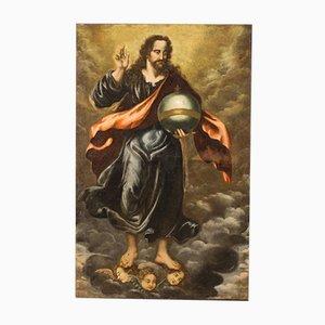 Großes antikes Gemälde, Salvator Mundi, 18. Jh
