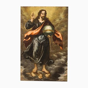 Large Antique Painting, Salvator Mundi, 18th-Century
