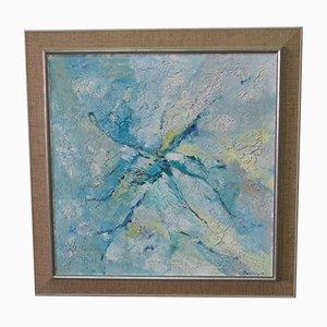 Viktor Rasmussen, Große Abstrakte Skandinavische Malerei, 1960er, Öl Auf Leinwand