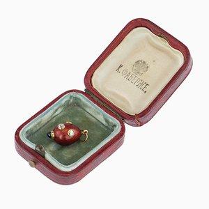 Lampe à Suspension Egg Antique Bijou Dorée en Émail par August Hollming pour Fabergé, Circa 1900