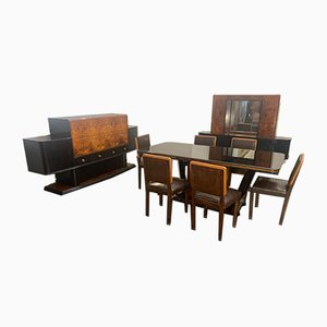 Art Deco Maple and Beech Living Room Set, 1930s, Set of 9