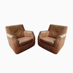 Club chair in pelle color cognac, anni '60, set di 2