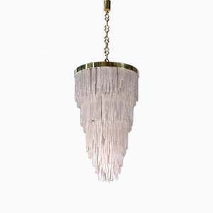 Italian Brass & Selenite Chandelier, 1970s