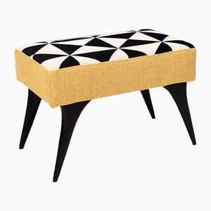 Mid-Century Pouf with Black, White and Yellow Fabric, 1950s