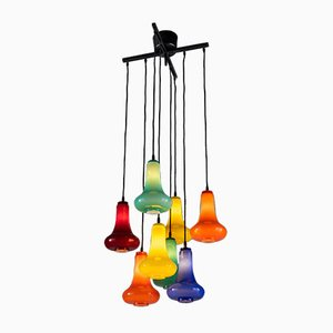 Italian Metal & Colored Glass Chandelier, 2000s