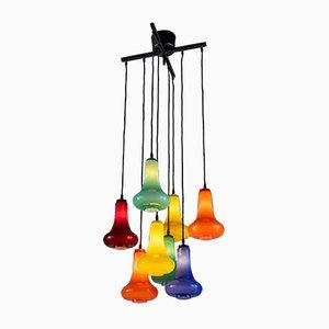 Italienischer Metall & Farbglas Kronleuchter, 2000er