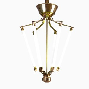 Italian Metal & Brass Neon Chandelier from Lumen, 1940s