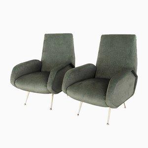 Restored Italian Green Velvet Armchairs, 1950s, Set of 2
