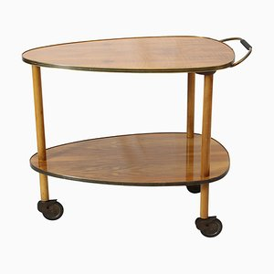 Vintage Walnut Serving Cart, 1950s
