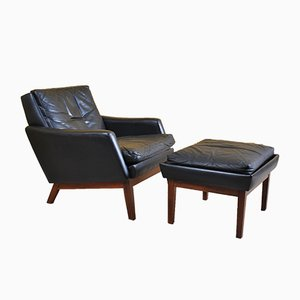 Danish Leather Lounge Chairs & Ottoman, 1960s, Set of 3