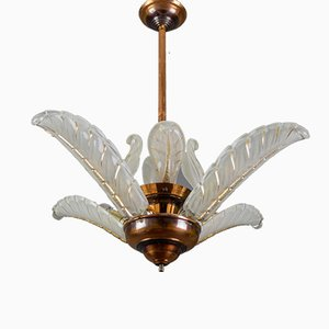 French Art Deco Copper and Frosted Glass Chandelier from Ezan, 1930s