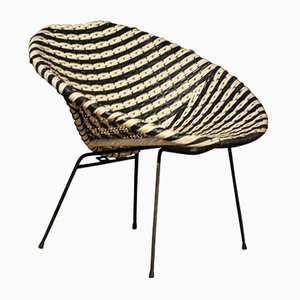 Dirk Van Sliedregt Style Black & White Rattan Cocktail Chair, 1950s