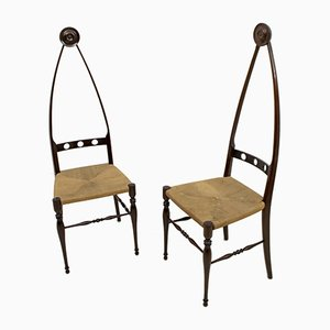 Italian Highbacked Dining Chairs from Pozzi & Verga, 1950s, Set of 2