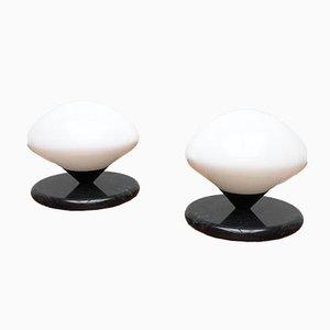 Lampade da tavolo vintage in marmo e vetro di Optelma, Svizzera, set di 2