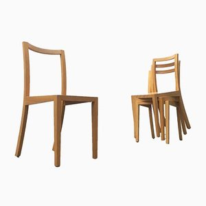 Vintage Wooden Dining Chairs from Sirch, Bitzer, Set of 4