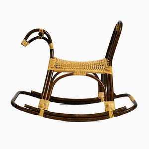 Italian Bamboo and Rattan Rocking Horse Attributed to Franco Albini, 1960s