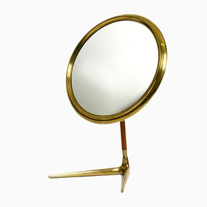 Large Italian Brass and Leather Mirror, 1950s