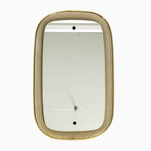 Mirror with Brass Grid Frame, 1950s