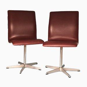 Oxford Leder Esszimmerstühle von Arne Jacobsen für Fritz Hansen, 1950er, 2er Set