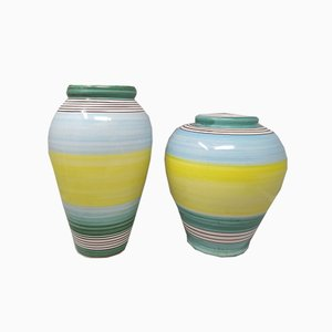 Yellow and Blue Ceramic Vases from Deruta, 1970s, Set of 2