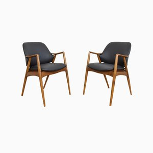 Mid-Century Swedish Leather Office Chairs by Alf Svensson for Dux, 1960s, Set of 2