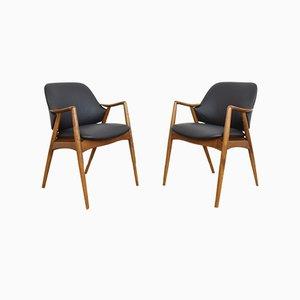 Schwedische Mid-Century Leder Bürostühle von Alf Svensson für Dux, 1960er, 2er Set