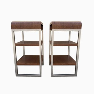 Stainless Steel and Rosewood Shelves, 1970s, Set of 2