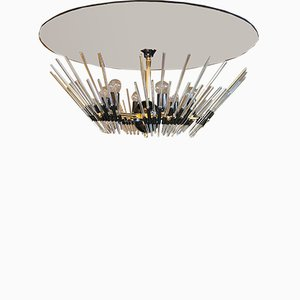 Italian Mirrored Glass & Crystal Glass Chandelier by Gaetano Sciolari, 1980s