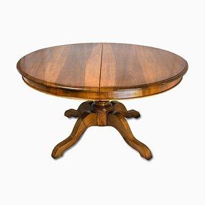 Mesa de comedor extensible antigua ovalada de nogal, década de 1800