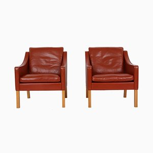 2207 Lounge Chairs by Børge Mogensen for Fredericia, 2000s, Set of 2