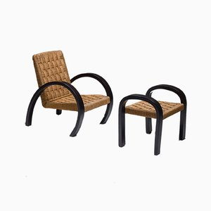 Vintage Art Deco Rush Armchair & Ottoman, Set of 2